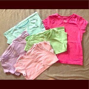 5 various colors, Size XS (4/5) t-shirts